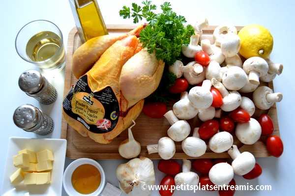 ingrédients pour poulet aux champignons
