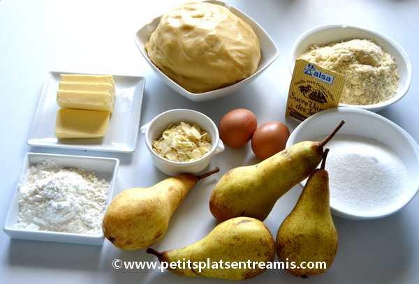 ingrédients tarte amandine aux poires