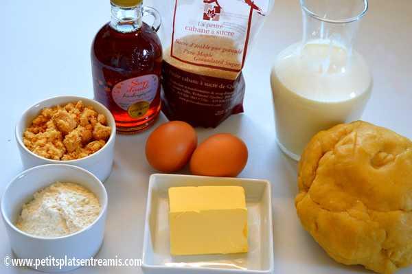 ingrédients tarte au sucre du Québec