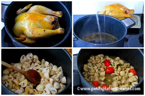 préparation poulet aux champignons