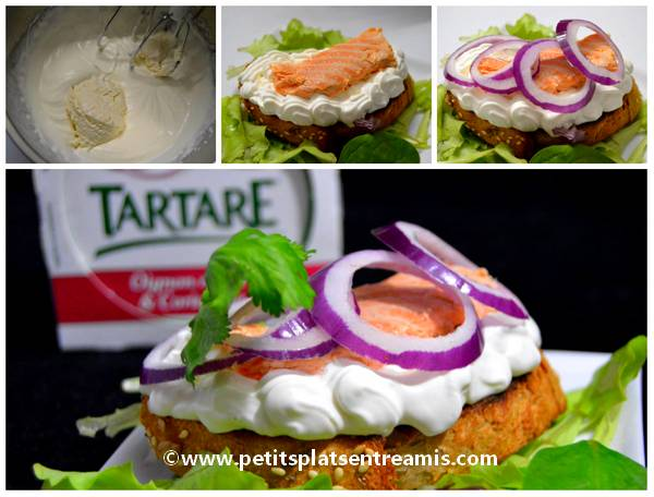 Belle tartine chantilly de Tartare et saumon frais