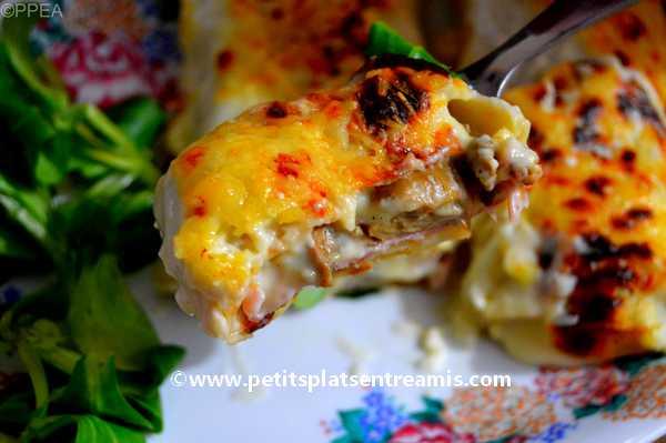 bouchée de crêpes-gratinées-jambon-et-fromage