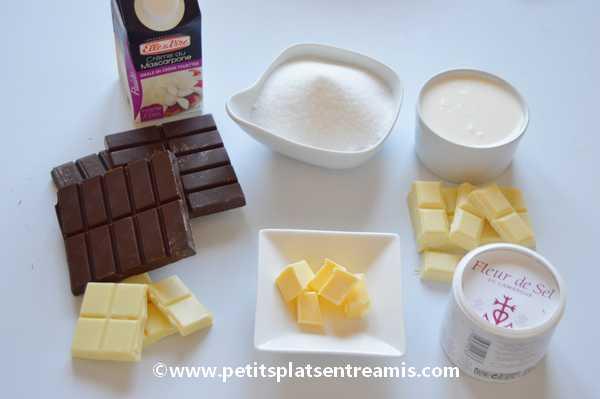 ingrédients entremet chocolat & caramel au beurre salé