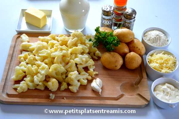 ingrédients gratin de chou-fleur et pommes de terre