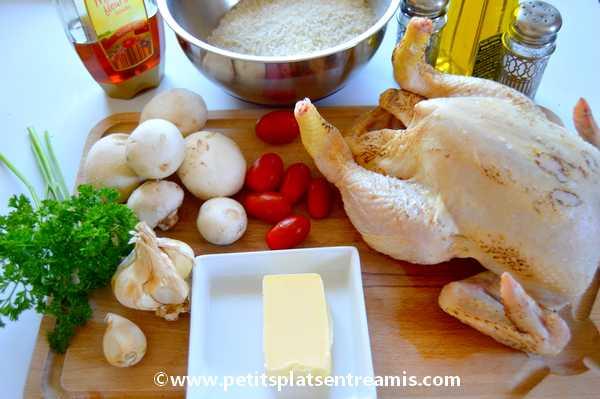 ingrédients poulet-farci-au-riz-et-champignons
