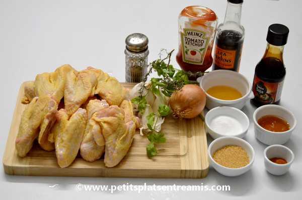 ingrédients pour ailerons de poulet laqués