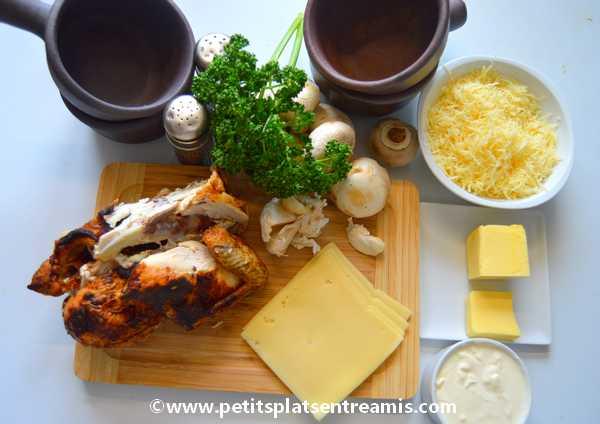ingrédients pour cassolettes de poulet au fromage
