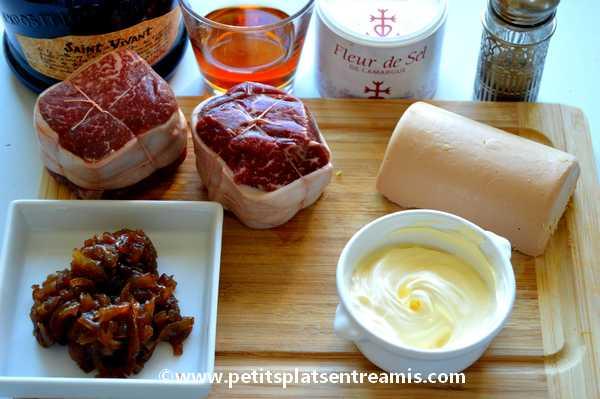 ingrédients pour tournedos de filet de Galice sauce foie gras