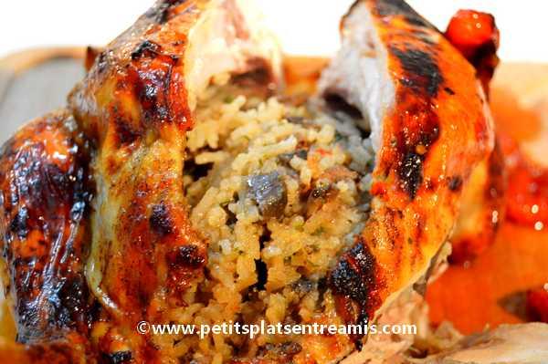recette poulet-farci-au-riz-et-champignons