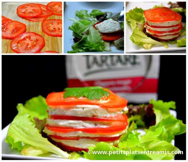 un millefeuille de tomate et Tartare Oignon rouge & Coriandre