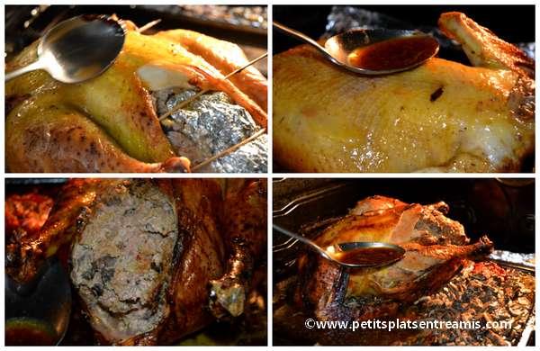 cuisson et arrosage du chapon au foie gras