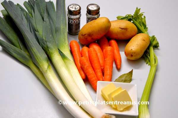 ingrédients soupe de légumes