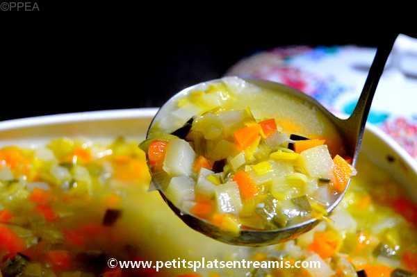 louche de soupe de légumes
