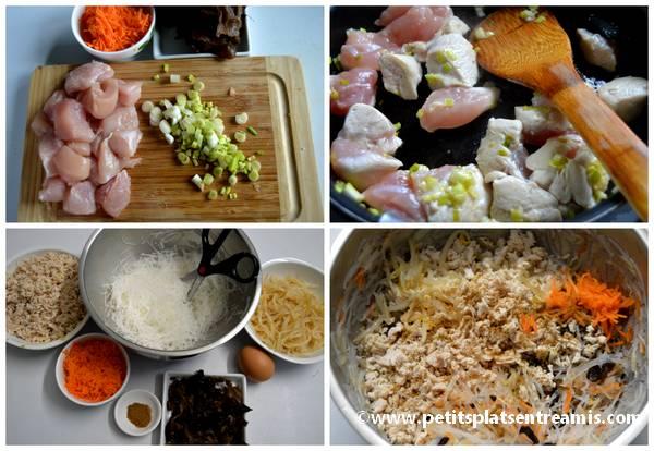 préparation nems au poulet