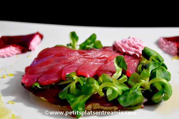 recette coeur de saumon fumé à la betterave