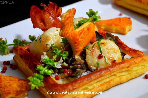 recette feuilletés de Saint-Jacques aux champignons
