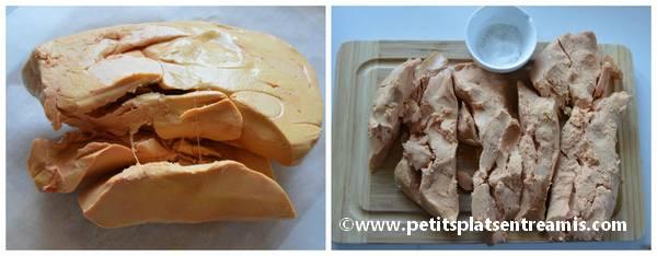 éveinage des lobes de foie gras