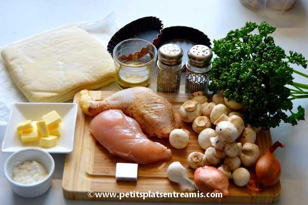 ingrédients petite tourte poulet champignons