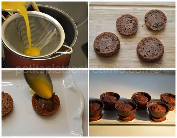 préparation coupes chocolat et orange