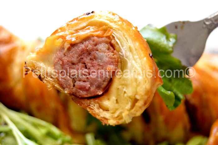 bouchée de saucisse-de-Toulouse-feuilletée-au-fromage