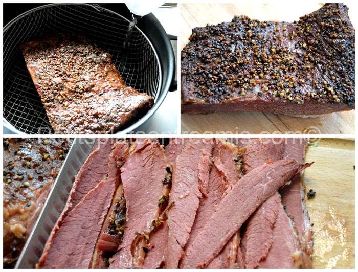 cuisson à l'étuvée de la viande fumée