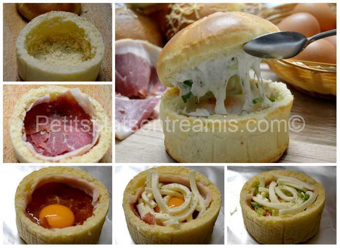 cuisson bol de pain jambon cru oeuf fromage