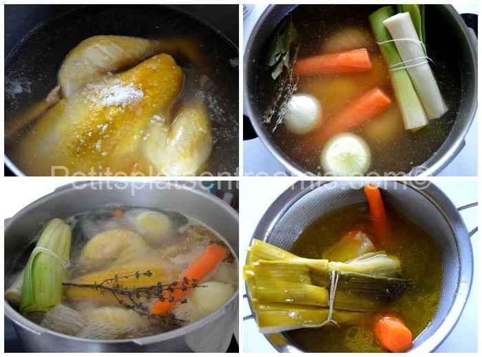 cuisson du poulet dans un bouillon