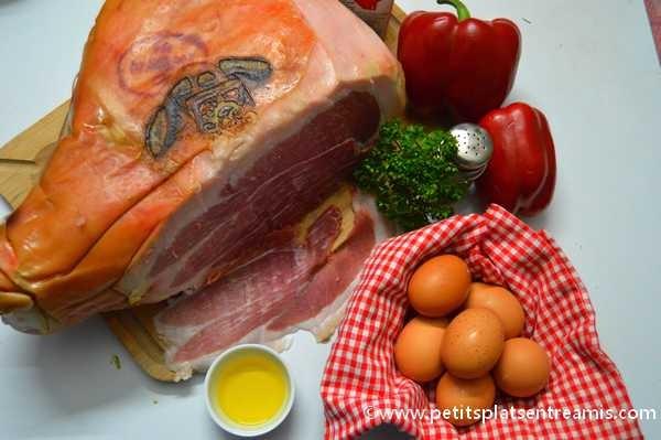 ingrédients pour omelette au jambon de Bayonne et poivrons
