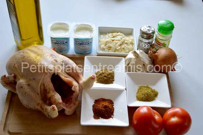 ingrédients pour poulet tikka massala