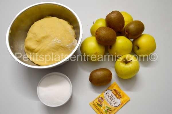 ingrédients tarte aux pommes et kiwis
