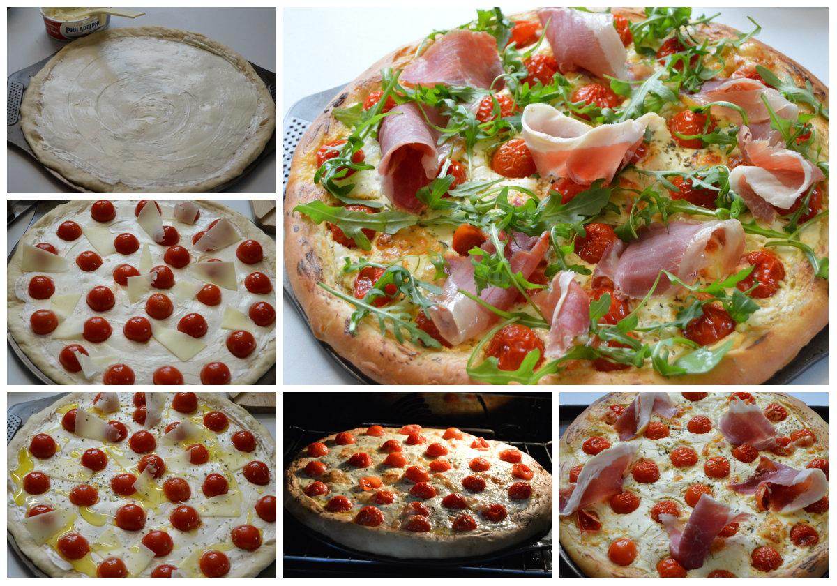 préparation et cuisson pizza au jambon de Bayonne