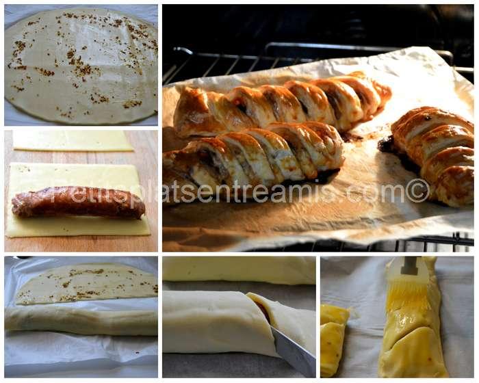 préparation et cuisson saucisses de Toulouse feuilletées