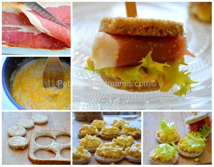 préparation petits sandwiches au jambon de Bayonne