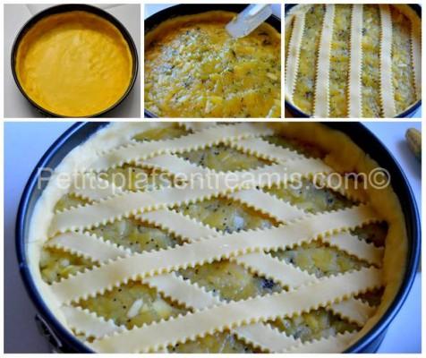 préparation tarte aux pommes et kiwis