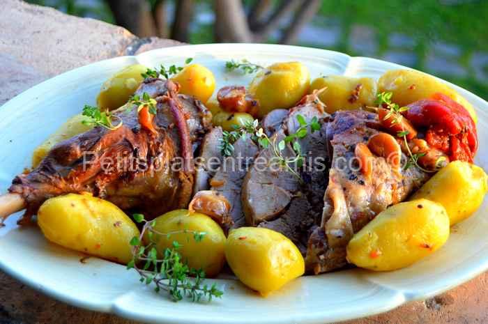 Gigot d'agneau confit à l'ail recette