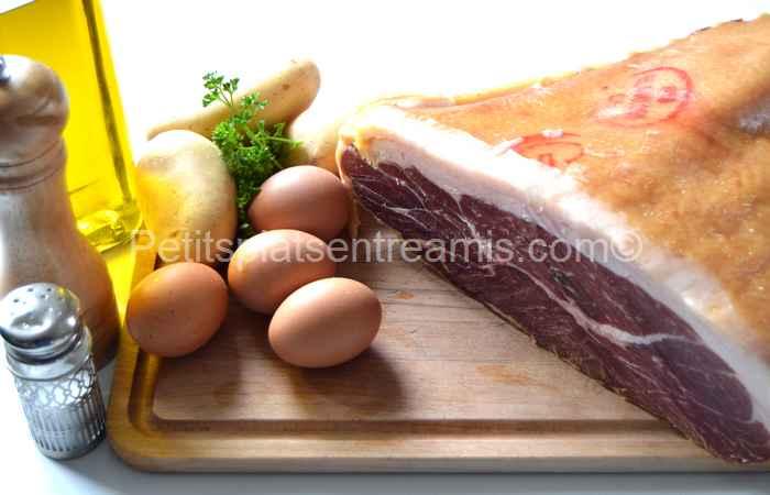 Ingrédients jambon Noir de Bigorre sur paillasson de pommes de terre