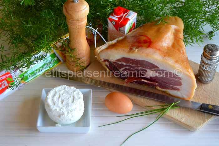 Ingrédients pour mille-feuille au jambon Noir de Bigorre