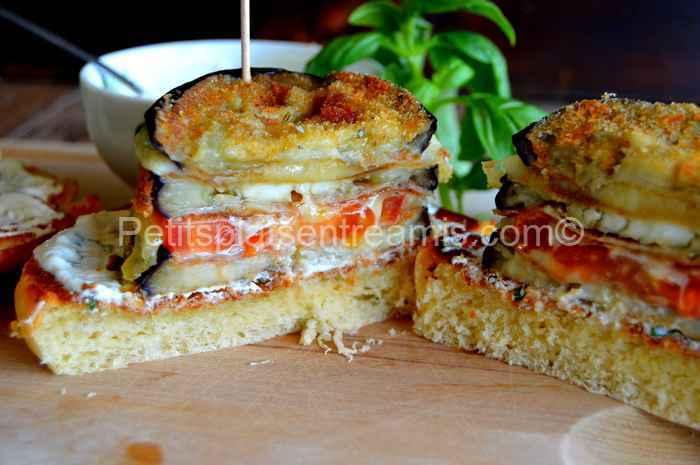 burger aubergine et cantal ouvert