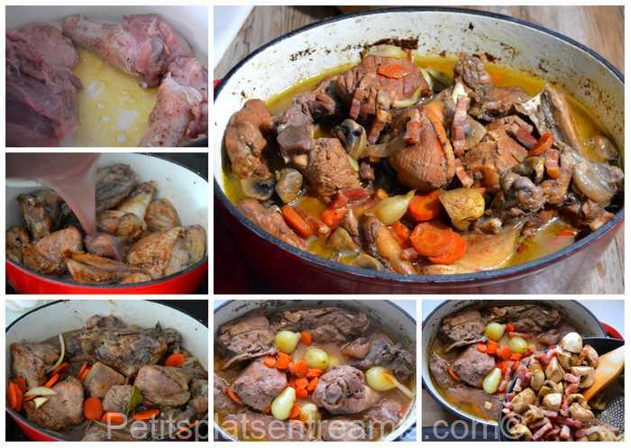 cuisson du coq au vin