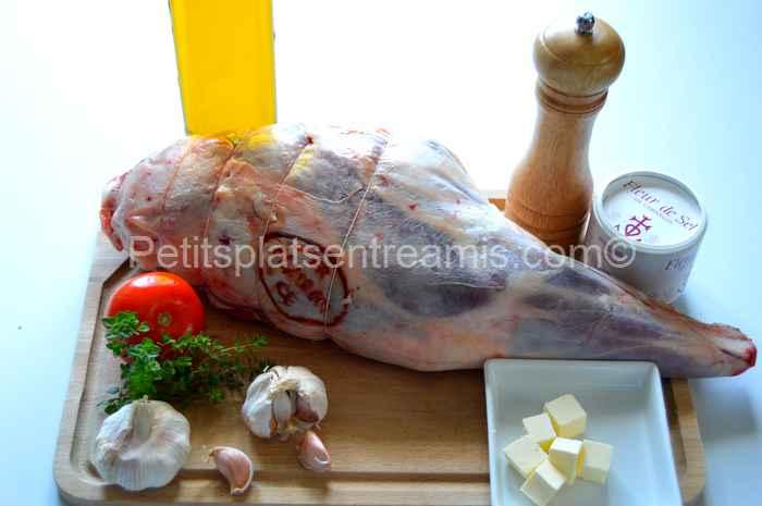 ingrédients pour gigot d'agneau confit à l'ail