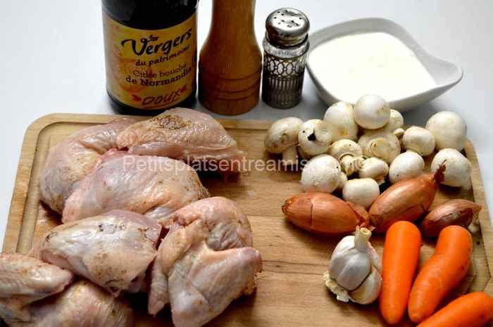 ingrédients pour poulet-au-cidre