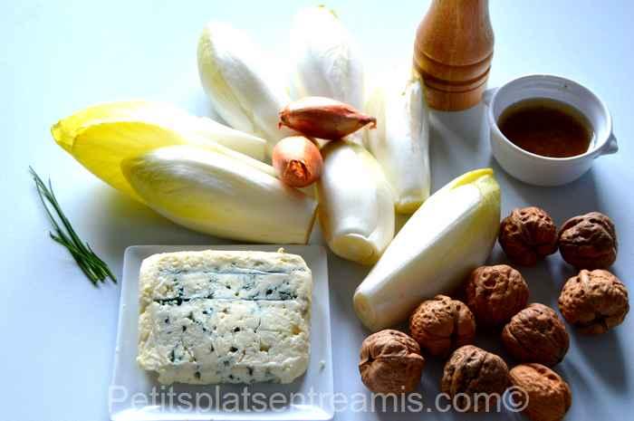 ingrédients pour salade d'endives au roquefort et aux noix