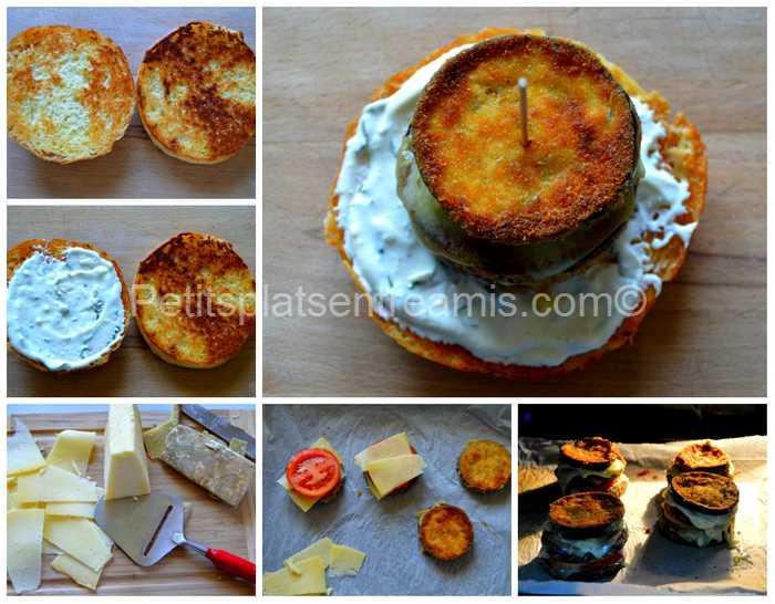 préparation burger aubergine et cantal