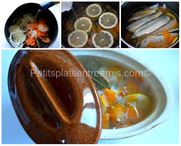 préparation des maquereaux marinés