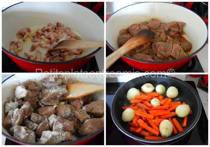 viande et lardons sautés pour daube irlandaise