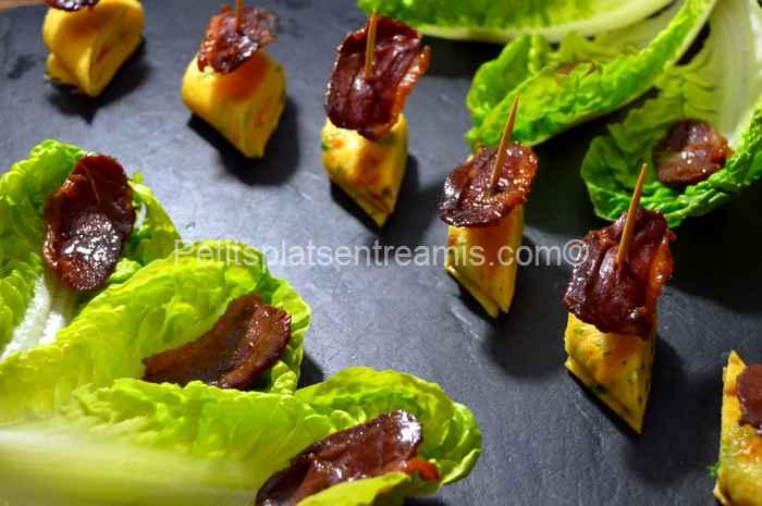 Tapas d'omelette et magret de canard séché recette