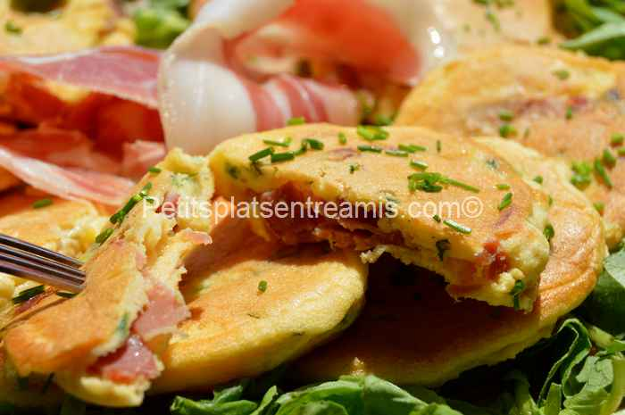 bouchée de pancakes au jambon de Bayonne