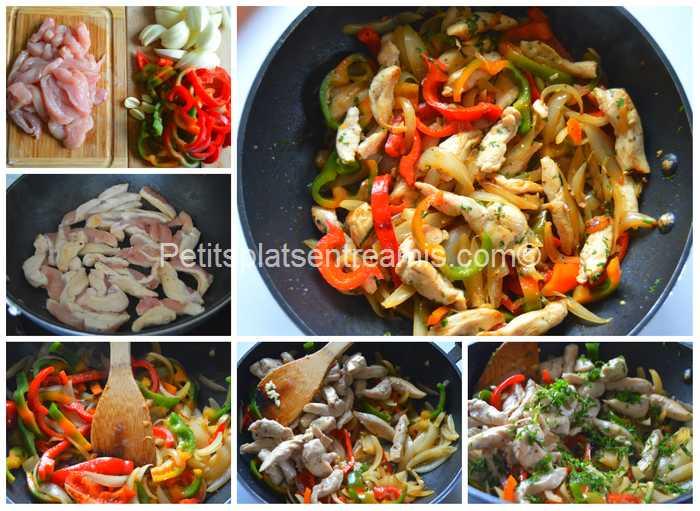 cuisson émincés de poulet oignons et poivrons