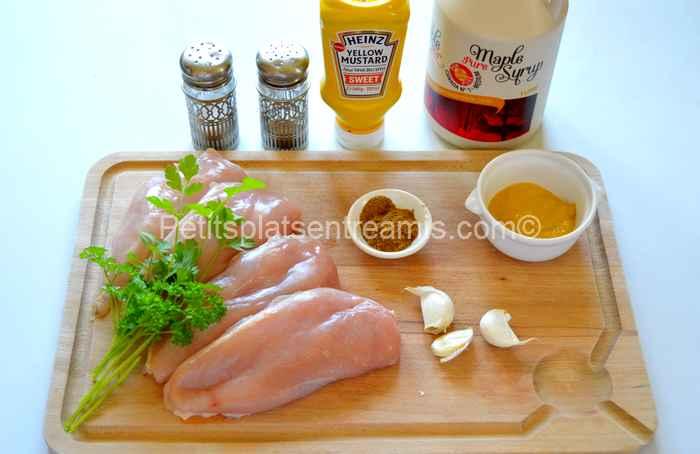 ingrédients suprêmes de poulet à la moutarde et au sirop d'érable
