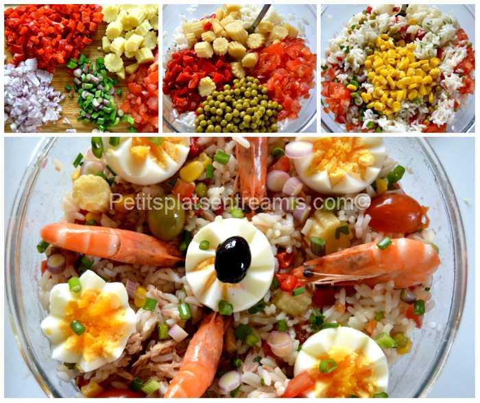 préparation salade de riz